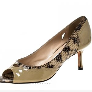 JIMMY CHOO LYNNE PYTHON/PATENT CUT-OUT PUMPS